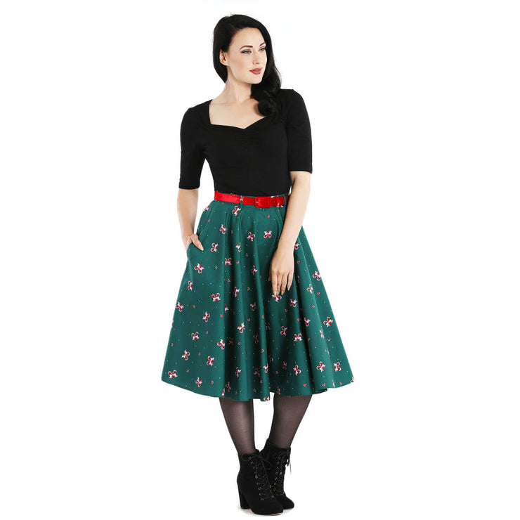 Hell Bunny Beth Candy Canes Xmas Skirt - full length