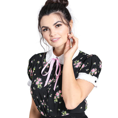 Hell Bunny Bobby Sue Floral Blouse - model - front