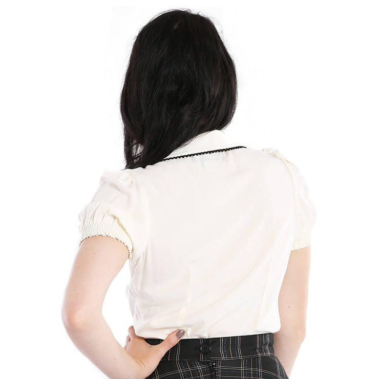 Hell Bunny Calliste Top - Ivory - model back