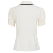 Hell Bunny Calliste Top - Ivory - back on invisbile mannequin