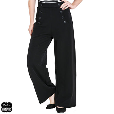 Hell Bunny Retro Carlie Swing Trousers - Black model front