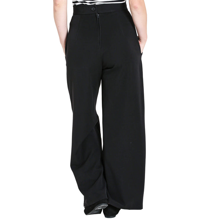 Hell Bunny Retro Carlie Swing Trousers - Black model back