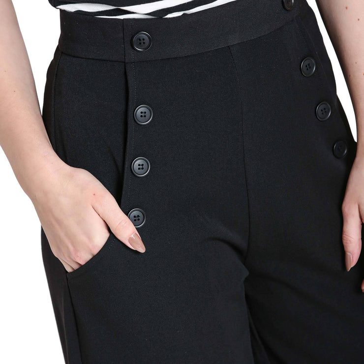Hell Bunny Retro Carlie Swing Trousers - Black close up