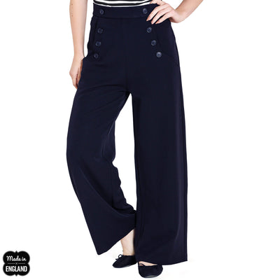 Hell Bunny Retro Carlie Swing Trousers - Navy front