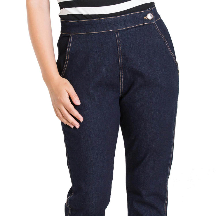 Hell Bunny Charlie Denim Capris/Jeans - Navy Blue - model front close