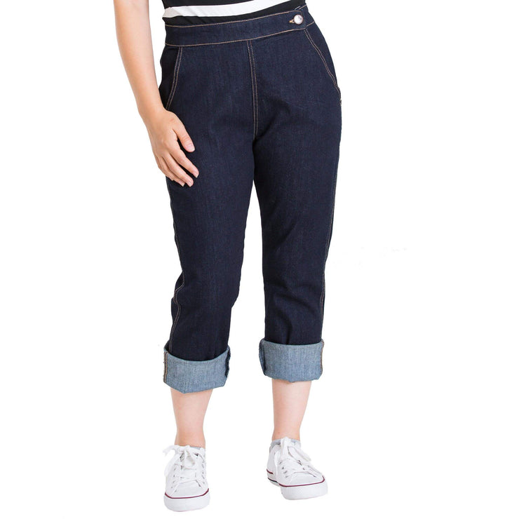 Hell Bunny Charlie Denim Capris/Jeans - Navy Blue - model front