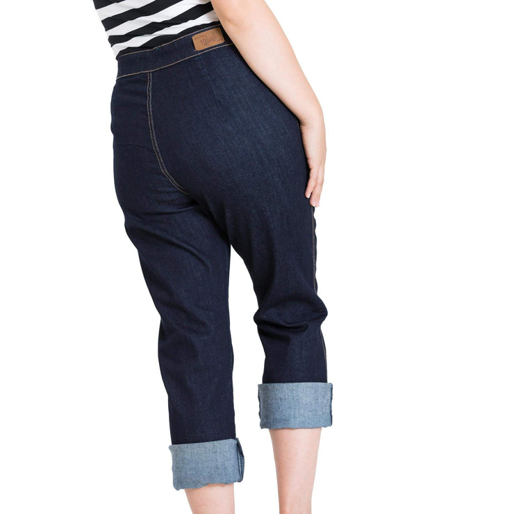 Hell Bunny Charlie Denim Capris/Jeans - Navy Blue - model back
