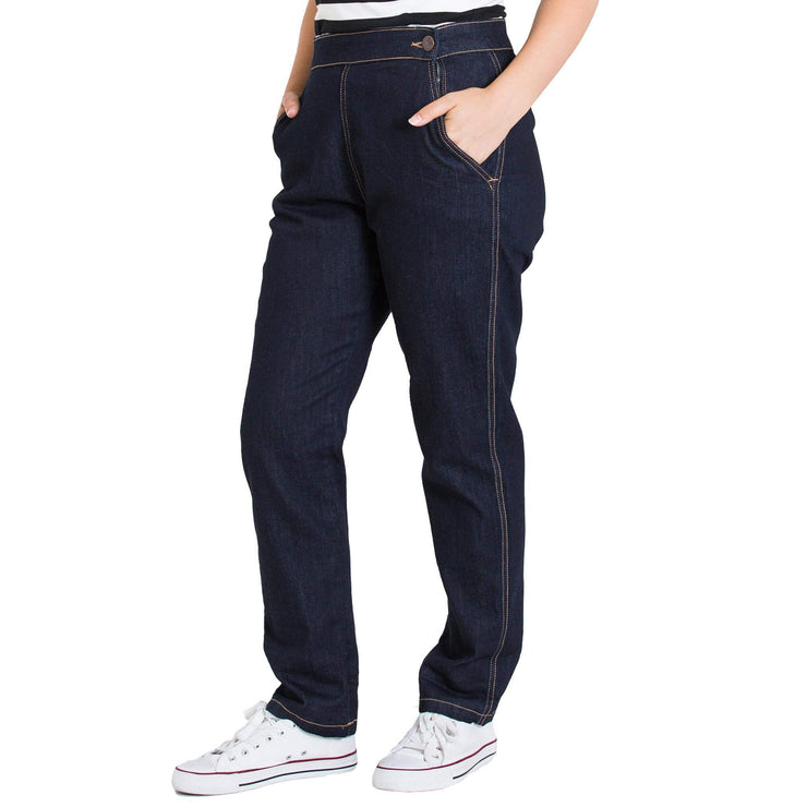 Hell Bunny Charlie Denim Capris/Jeans - Navy Blue - model side unrolled