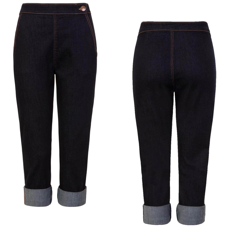 Hell Bunny Charlie Denim Capris/Jeans - Navy Blue - invisible mannequin