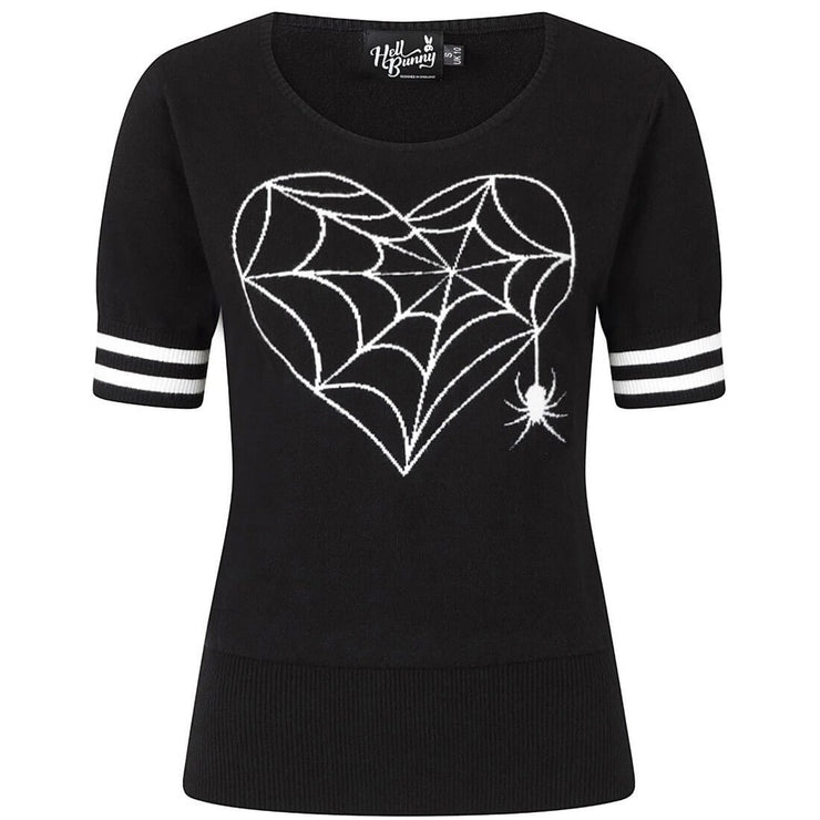 Hell Bunny Charlotte Spider Gothic Knit Top/Jumper - invisible mannequin front