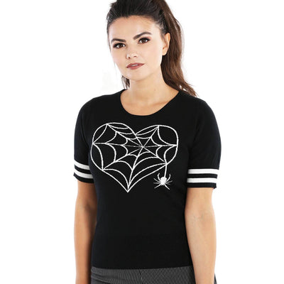 Hell Bunny Charlotte Spider Gothic Knit Top/Jumper - model front
