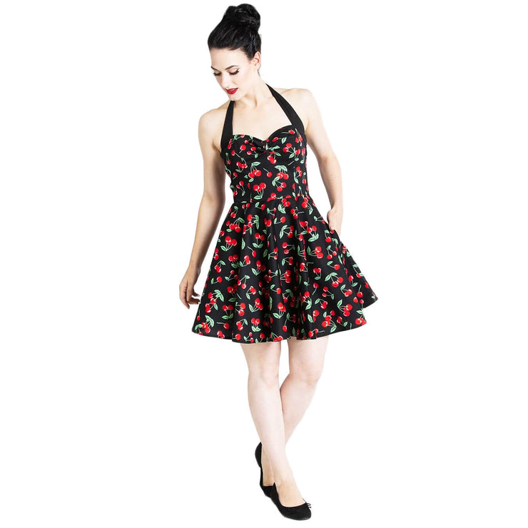 Model shot - Hell Bunny Cherry Pop Mini Dress - full length