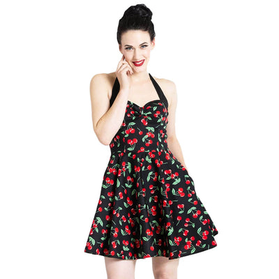 [Special Order] Hell Bunny Cherry Pop Mini Dress - Black - model front