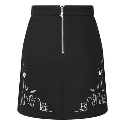 Hell Bunny Cullen Graveyard Mini Skirt on invisible mannequin front
