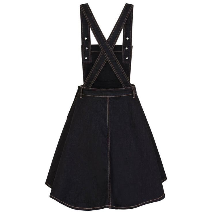 Image of Hell Bunny Dakota Denim Pinafore Dress - Blue
