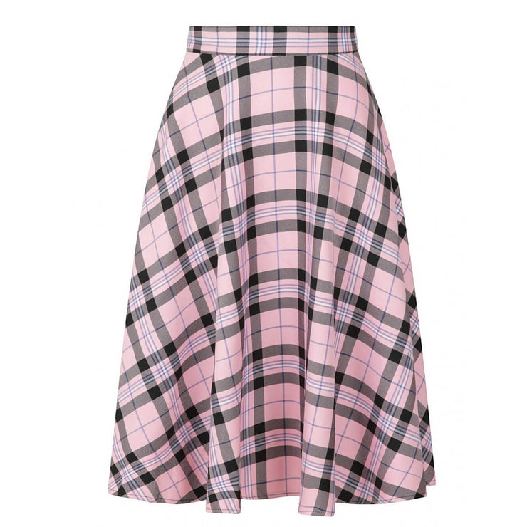 Hell Bunny Dalston 50's Skirt - Pink on invisible mannequin front