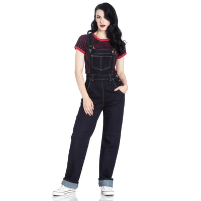 Image of Hell Bunny Elly May Denim Dungarees Overalls - Navy Blue