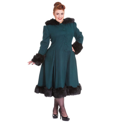 Image of Hell Bunny Elvira Coat - Deep Green - Plus Size