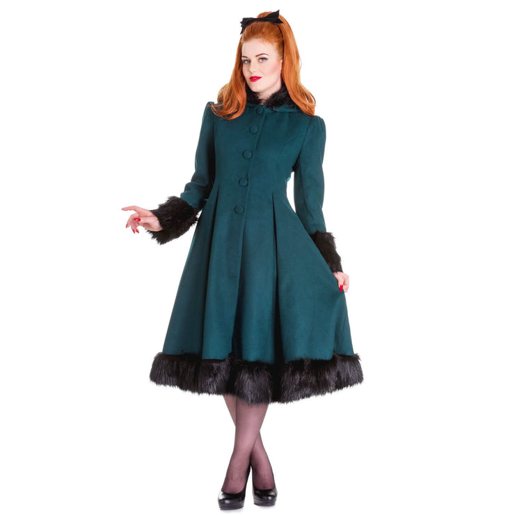 Image of Hell Bunny Elvira Coat - Deep Green - Standard Size