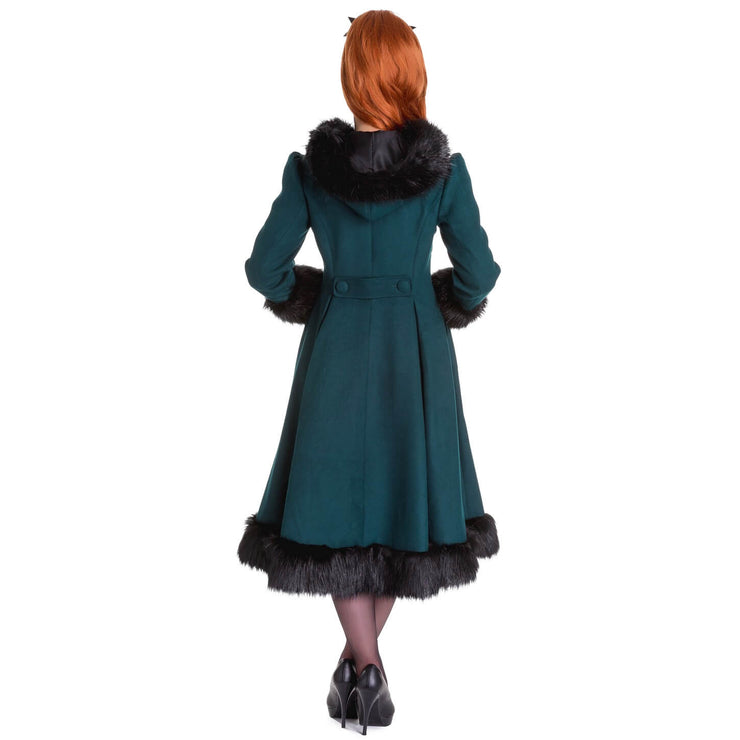 Image of Hell Bunny Elvira Coat - Deep Green - back shot