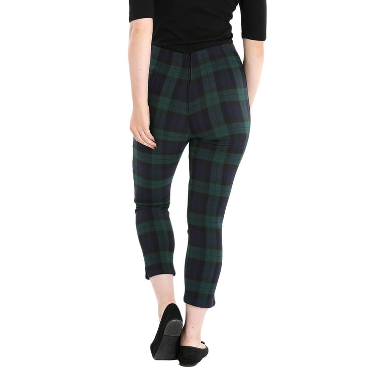 Hell Bunny Evelyn Tartan Cigarette Trousers back
