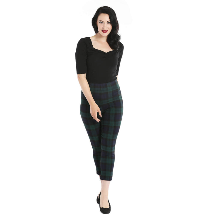 Hell Bunny Evelyn Tartan Cigarette Trousers std front full length
