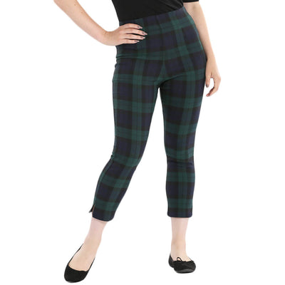 Hell Bunny Evelyn Tartan Cigarette Trousers front