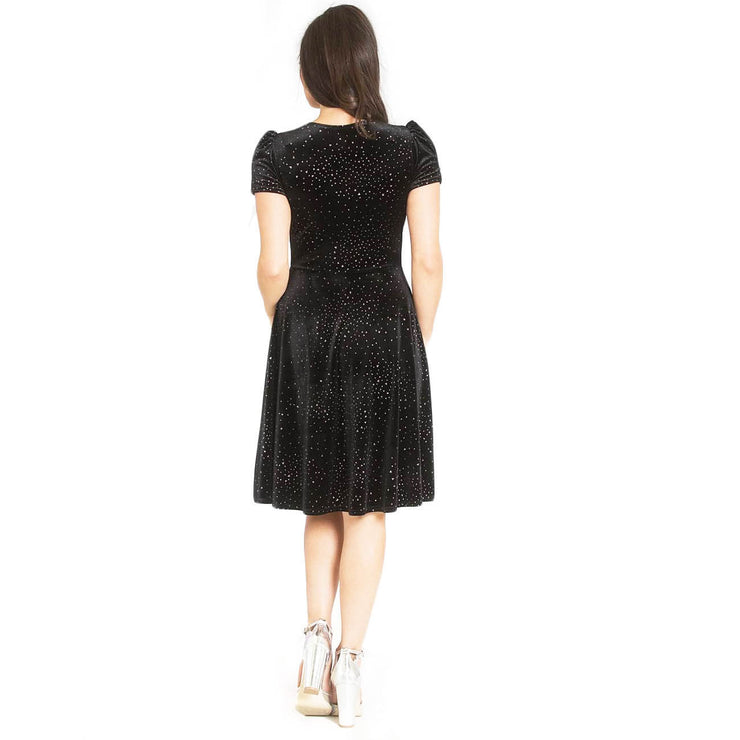Hell Bunny Glitterbelle Velvet Party Dress - back