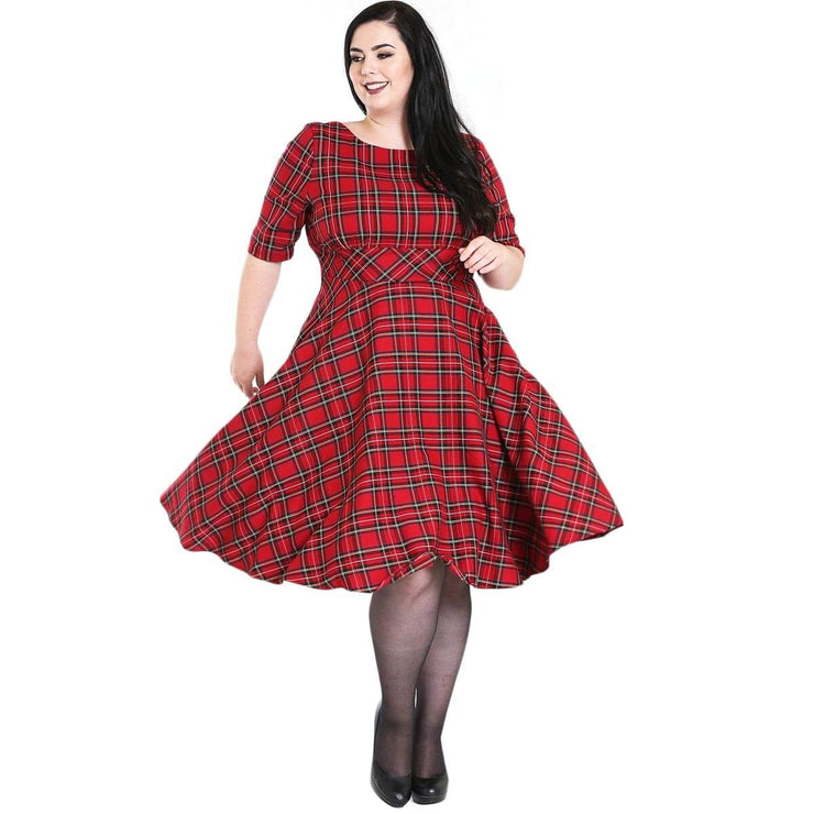 Hell Bunny Irvine 50's Dress - Red Tartan - plus model front
