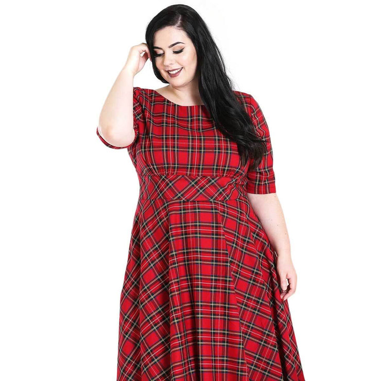 Hell Bunny Irvine 50's Dress - Red Tartan - plus model front cropped