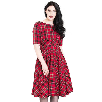 Hell Bunny Irvine 50's Dress - Red Tartan - model front cropped