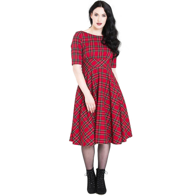 Hell Bunny Irvine 50's Dress - Red Tartan - model front long