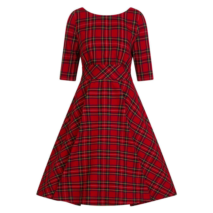 Hell Bunny Irvine 50's Dress - Red Tartan - invisible mannequin front