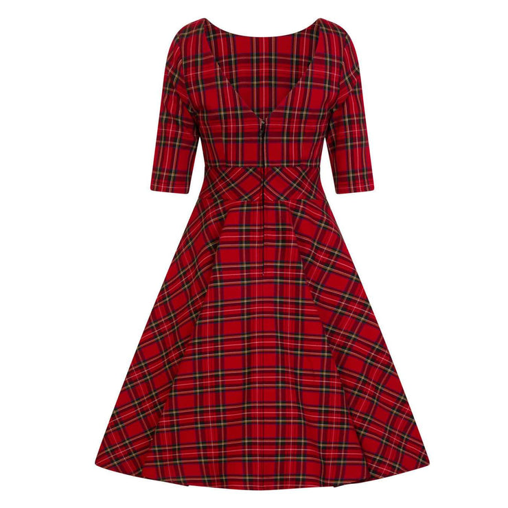 Hell Bunny Irvine 50's Dress - Red Tartan - invisible mannequin back