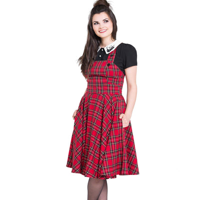 [Special Order] Hell Bunny Irvine Tartan Pinafore Dress - Red