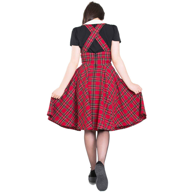 Hell Bunny Irvine Tartan Pinafore Dress - Red