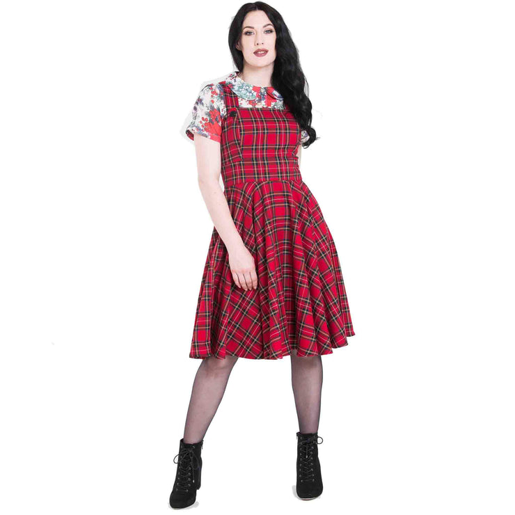 Image of Hell Bunny Irvine Tartan Pinafore Dress - Red