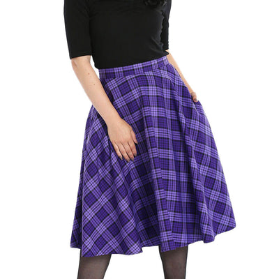 Hell Bunny Kennedy Tartan Plaid Skirt - Purple - model front