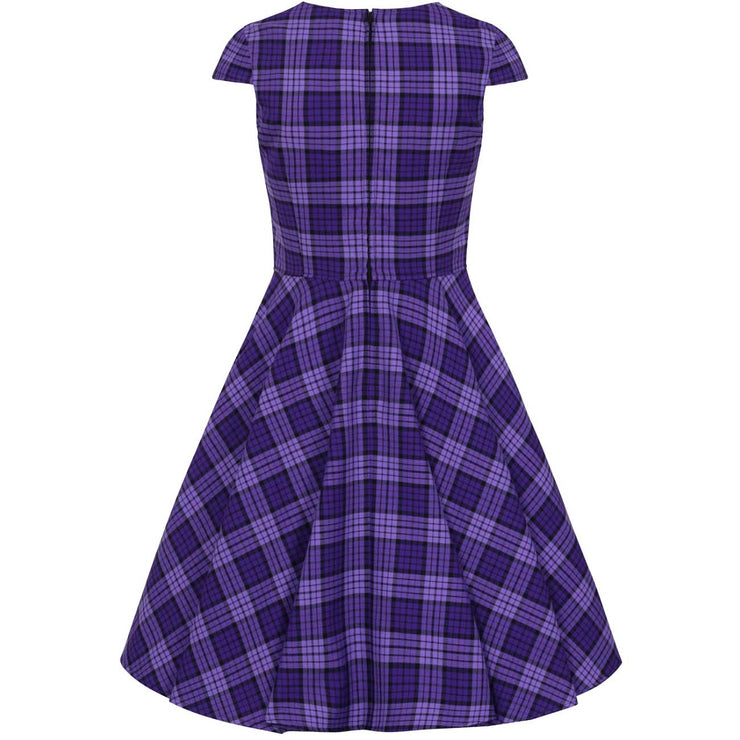 Hell Bunny Kennedy Retro Plaid 50s Dress - invisible mannequin back