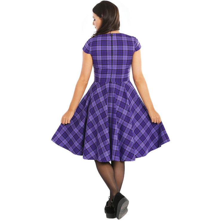 Hell Bunny Kennedy Retro Plaid 50s Dress - model back