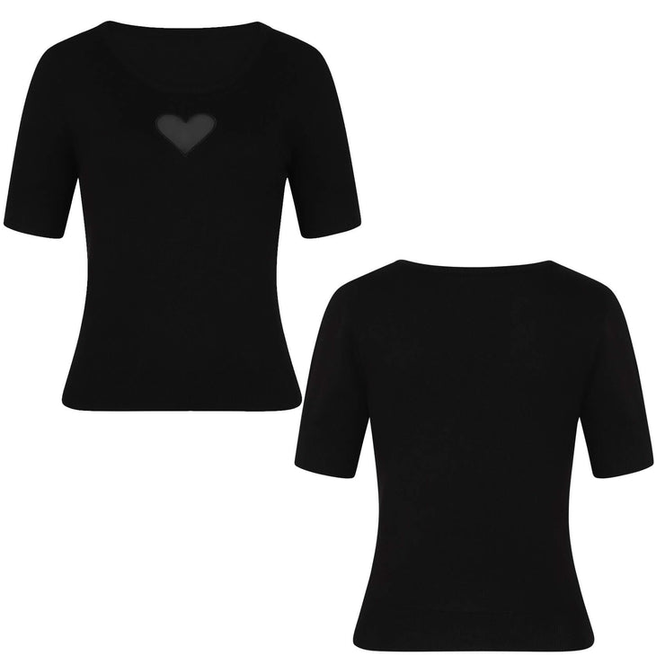 Hell Bunny Heart Top - Black invisible mannequin front and back