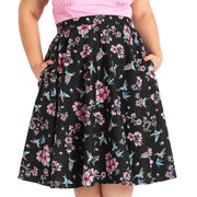 Plus model wearing Hell Bunny Madison Hummingbirds 50's Skirt - front