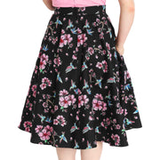 model wearing Hell Bunny Madison Hummingbirds 50's Skirt - back
