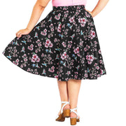 Plus model wearing Hell Bunny Madison Hummingbirds 50's Skirt - back