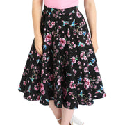 Model wearing Hell Bunny Madison Hummingbirds 50's Skirt - front
