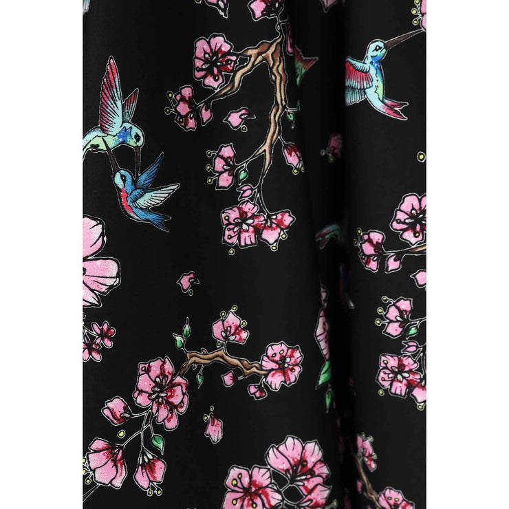 Hell Bunny Madison Hummingbirds 50's Skirt - fabric