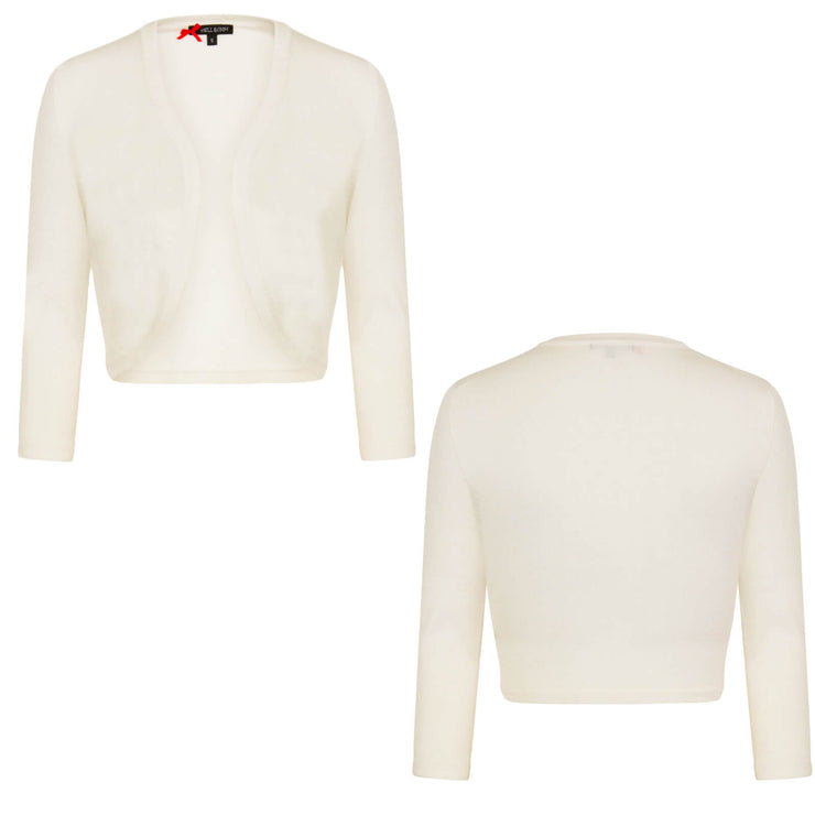 Hell Bunny Maggie Bolero Cardigan - Ivory - invisible mannequin front and back