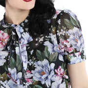 Hell Bunny Magnolia Floral Top close up