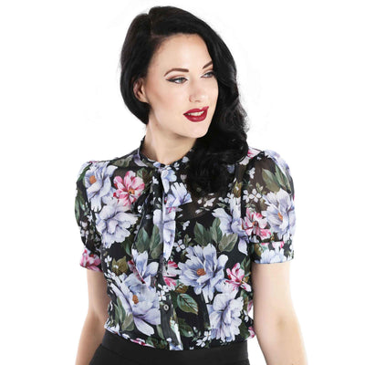 Hell Bunny Magnolia Floral Top front