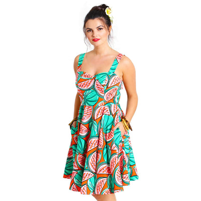 Hell Bunny Melonie Watermelon Mid Dress model front